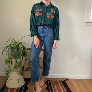 Vintage 90s Green Plaid Fall Halloween Button Down